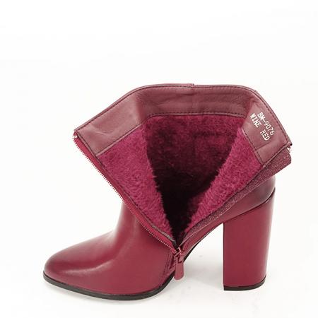Botine elegante rosu inchis Mira1