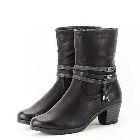 Cizme negre imblanite cu toc Maria2