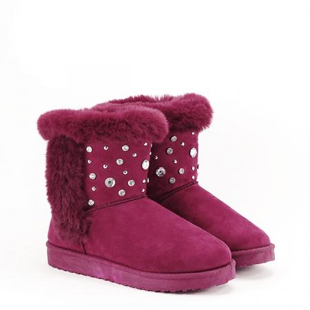 Cizme rosu inchis cu cristale Oana3