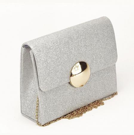 Geanta argintie tip clutch Emma1