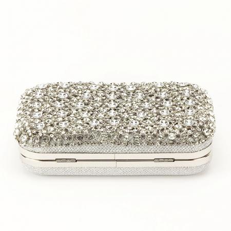 Geanta clutch argintie cu cristale Rosanna5