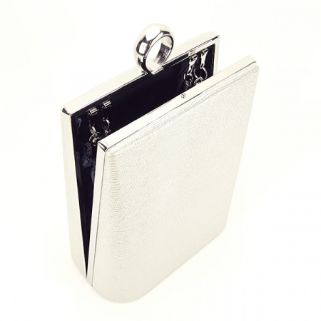 Geanta clutch argintiu cu imprimeu Noemi4