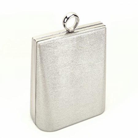 Geanta clutch argintiu cu imprimeu Noemi1