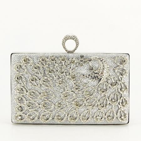 Poseta de ocazie argintie decorat cu pietre Raina [1]