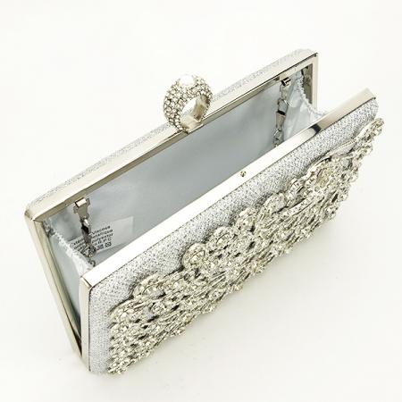 Poseta de ocazie argintie decorat cu pietre Raina [6]
