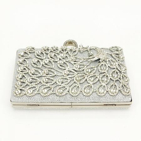 Poseta de ocazie argintie decorat cu pietre Raina [5]