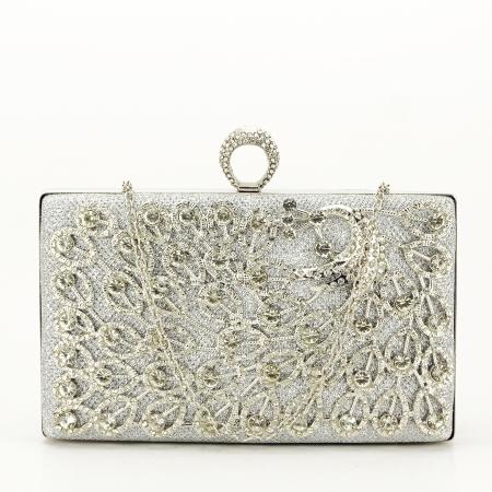 Poseta de ocazie argintie decorat cu pietre Raina [3]