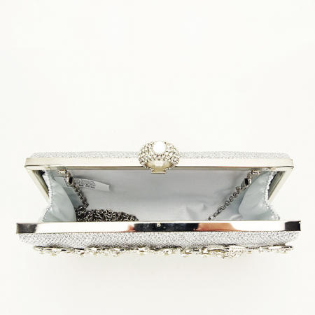 Poseta de ocazie argintie decorat cu pietre Raina [7]