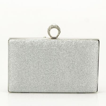 Poseta de ocazie argintie decorat cu pietre Raina [2]