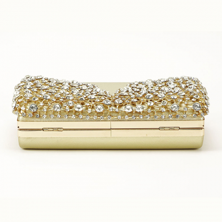 Geanta clutch auriu cu cristale Corina5