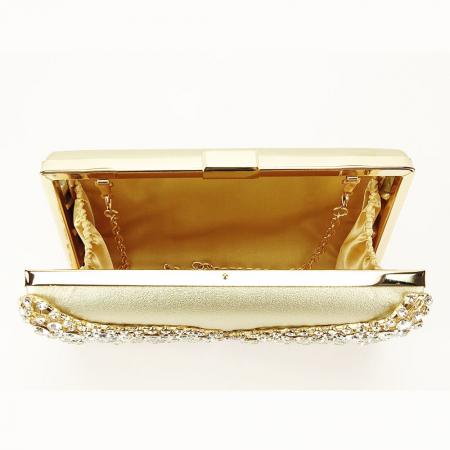 Geanta clutch auriu cu cristale Corina8