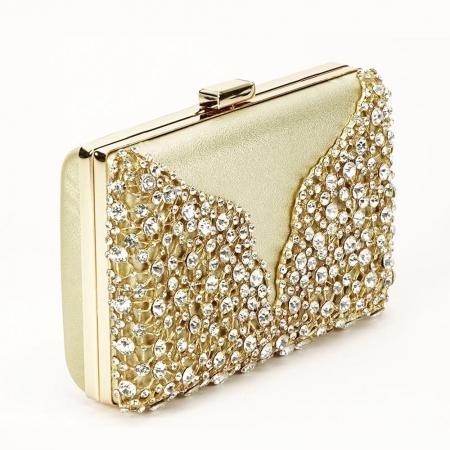 Geanta clutch auriu cu cristale Corina0
