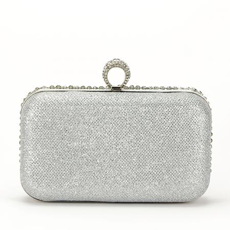 Geanta clutch argintiu cu cristale Meli [2]