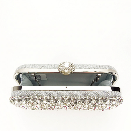 Geanta clutch argintiu cu cristale Meli [7]