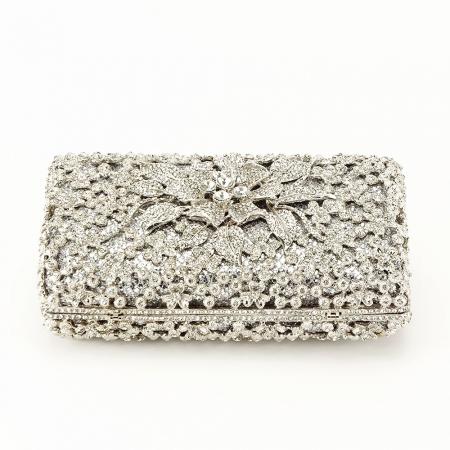 Geanta clutch de lux argintie Angelina [4]
