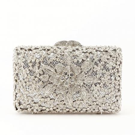 Geanta clutch de lux argintie Angelina [1]