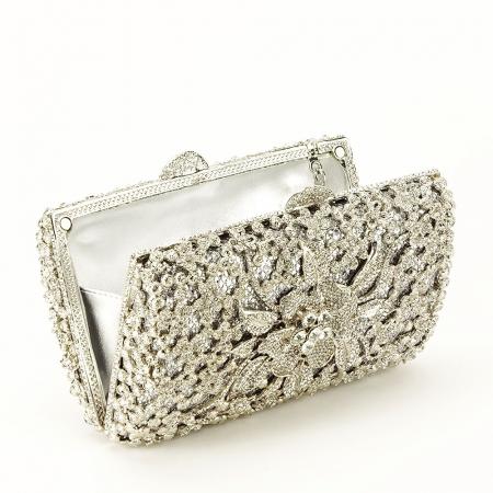Geanta clutch de lux argintie Angelina [3]