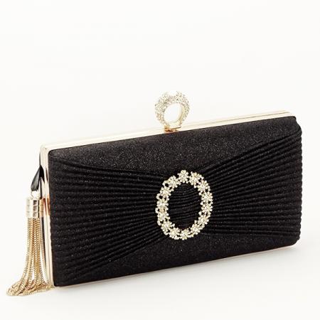 Geanta clutch negru cu brosa Silvia [0]