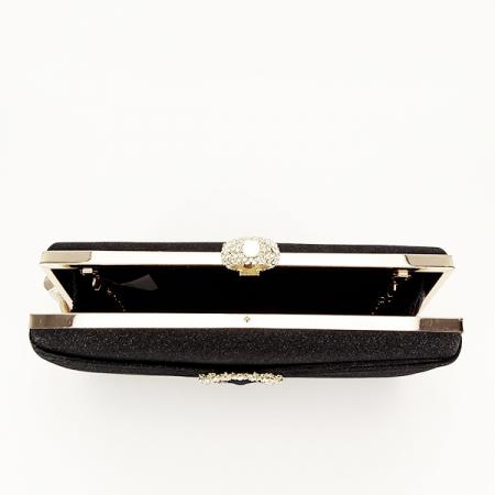 Geanta clutch negru cu brosa Silvia [4]