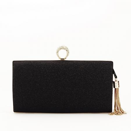 Geanta clutch negru cu brosa Silvia [5]