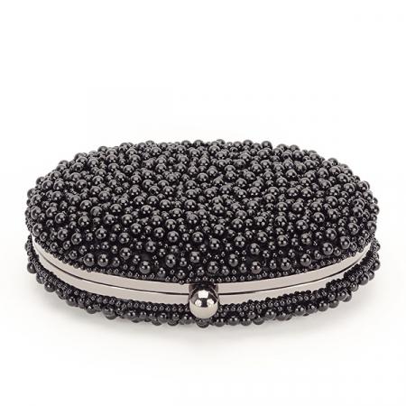Geanta clutch negru cu margele Rebeca [4]
