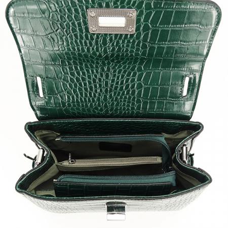 Geanta verde inchis cu imprimeu Brenda4
