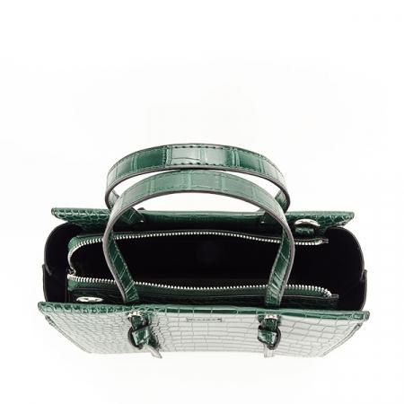 Geanta verde inchis cu imprimeu Lidia3