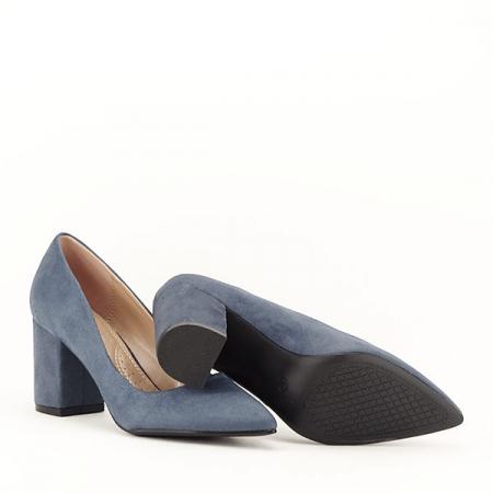 Pantofi albastri cu toc gros Adelina7