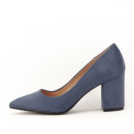 Pantofi albastri cu toc gros Adelina0