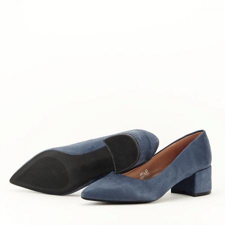 Pantofi albastru petrol cu toc mic Carla [4]