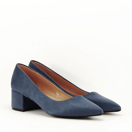Pantofi albastru petrol cu toc mic Carla [3]