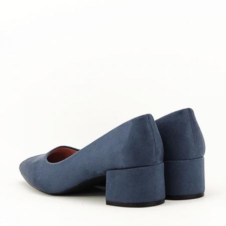 Pantofi albastru petrol cu toc mic Carla [5]