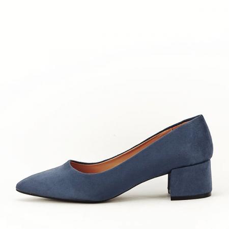 Pantofi albastru petrol cu toc mic Carla [0]