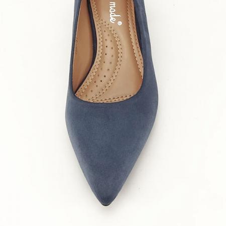 Pantofi albastru petrol cu toc mic Carla [2]
