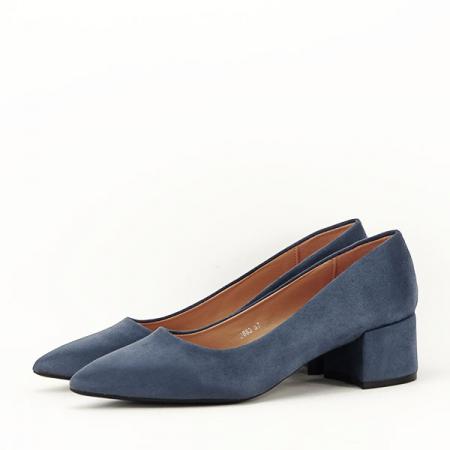 Pantofi albastru petrol cu toc mic Carla [1]
