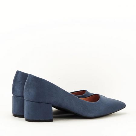 Pantofi albastru petrol cu toc mic Carla [7]