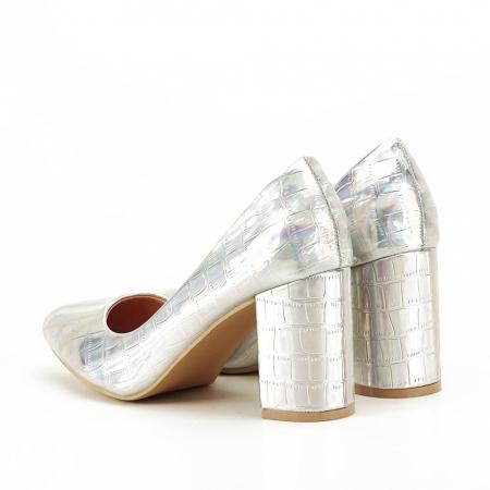 Pantofi argintii cu imprimeu reptila Fancy [4]