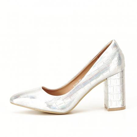 Pantofi argintii cu imprimeu reptila Fancy [2]