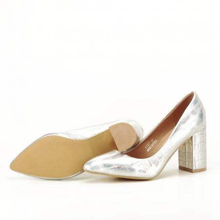 Pantofi argintii cu imprimeu reptila Fancy [6]