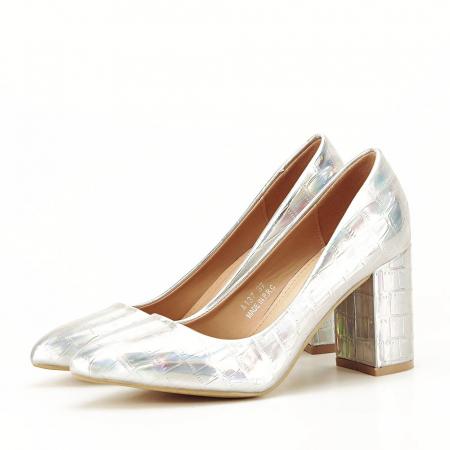Pantofi argintii cu imprimeu reptila Fancy [0]