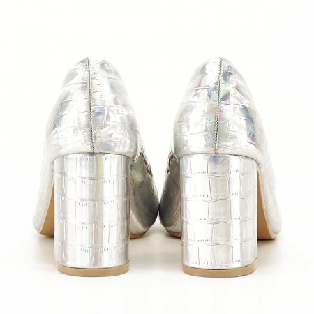 Pantofi argintii cu imprimeu reptila Fancy [3]