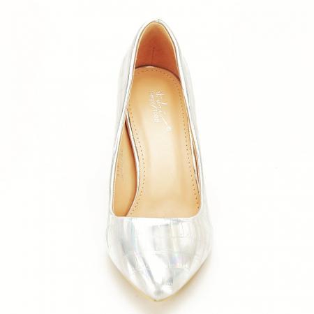 Pantofi argintii cu imprimeu reptila Fancy [7]