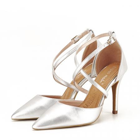 Pantofi argintii cu toc cui Zoe [0]