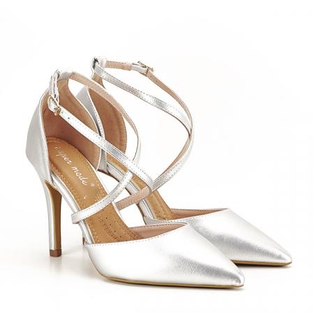 Pantofi argintii cu toc cui Zoe [2]