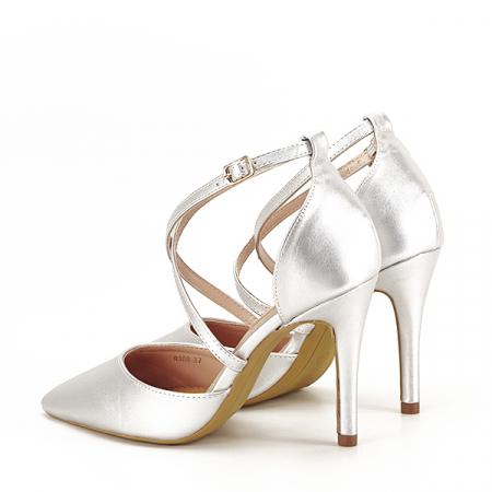 Pantofi argintii cu toc cui Zoe [3]
