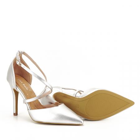 Pantofi argintii cu toc cui Zoe [7]