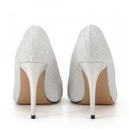 Pantofi argintii cu toc Liza3