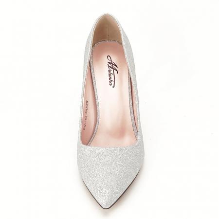 Pantofi argintii cu toc Liza6