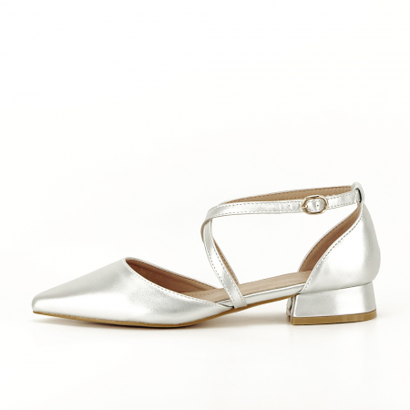 Pantofi argintii cu toc mic Carmen2