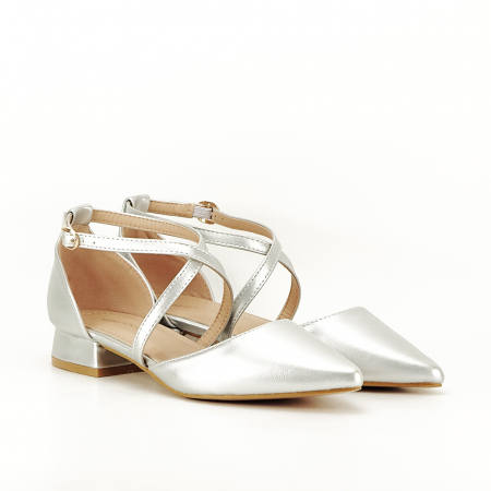 Pantofi argintii cu toc mic Carmen1